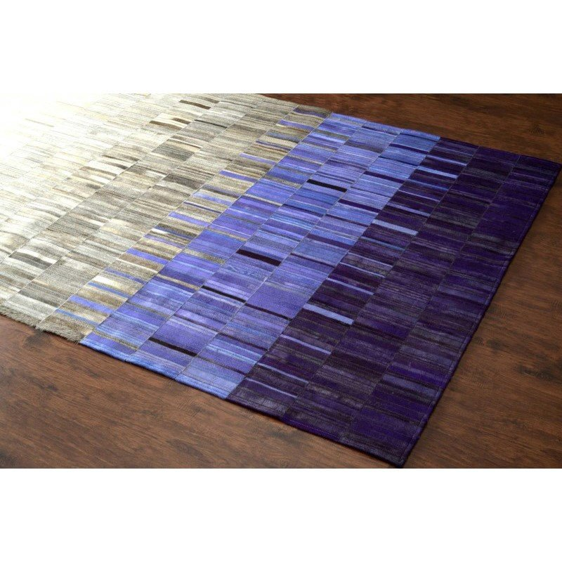 nuLOOM Hand Woven Ombre Cowhide Patchwork Rug 5' x 8' Blue Rectangle (QALUM24B-508)