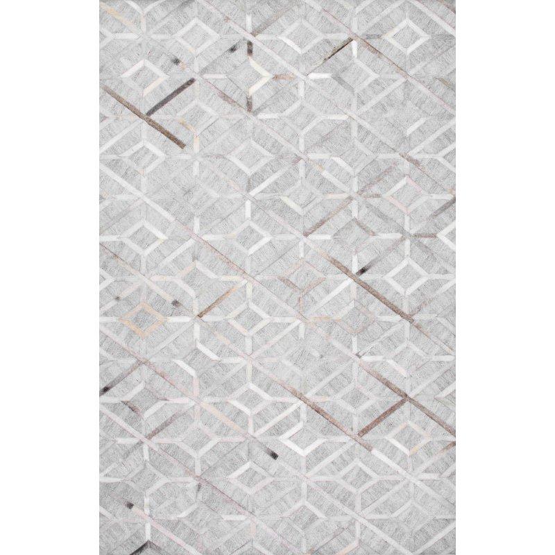 nuLOOM Handmade Cowhide Chanda 4' x 6' Rectangle Rug in Grey (TXAL02A-406)