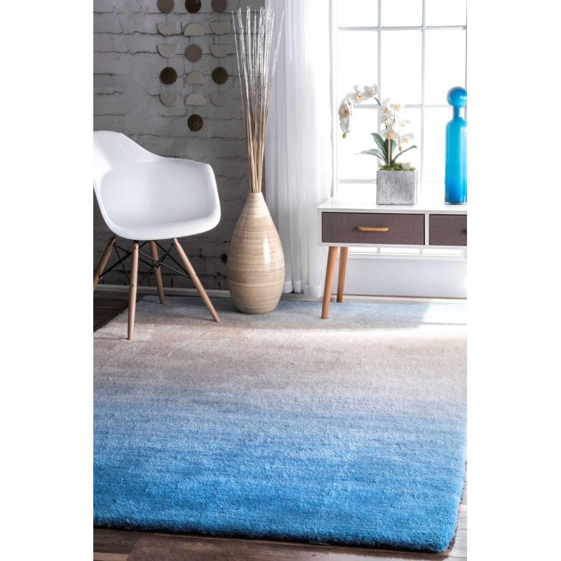 nuLOOM Handmade Ombre Shag Rug 8' x 10' Blue Rectangle (HJOS01B-8010)