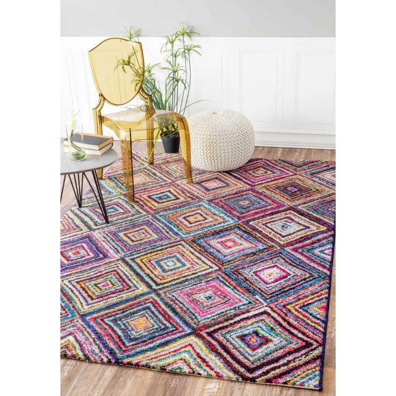 "nuLOOM Jenise Squares Rug 4' 1"" x 6' Multi Rectangle (ECCR05A-4106)"