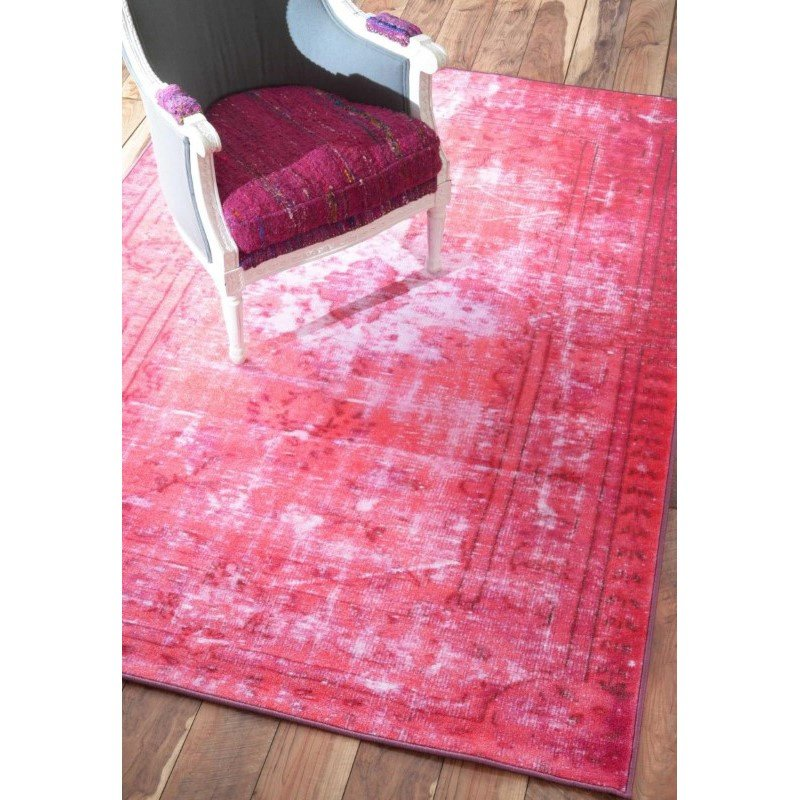 nuLOOM Machine Made Chroma Overdyed Style Rug 4' x 6' Pink Rectangle (DIRE3A-406)
