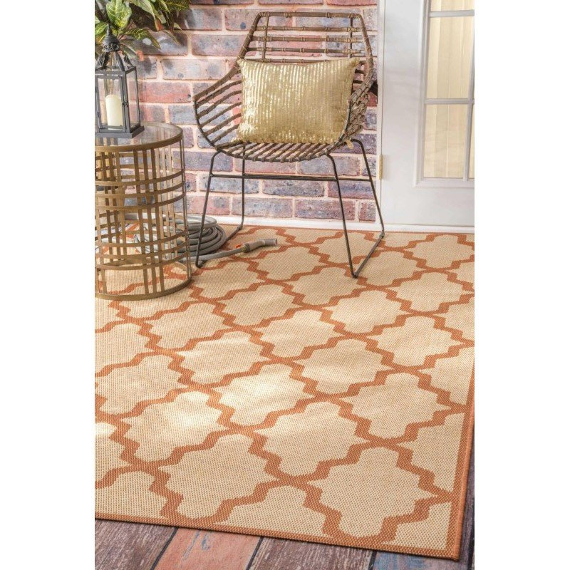 """nuLOOM Machine Made Gina Outdoor Moroccan Trellis Rug 7' 6"""" x 10' 9"""" Red Rectangle (OWDN06D-71001010)"""
