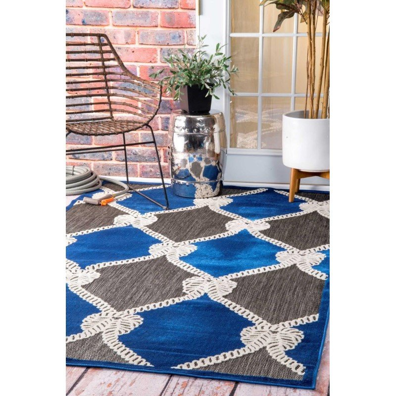 """nuLOOM Machine Made Nautical Ropes Outdoor Adrian Rug 7' 7"""" x 10' Blue Rectangle (CFST02A-77010)"""