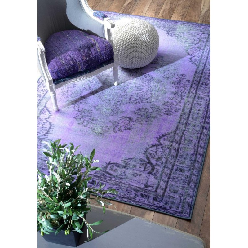 """nuLOOM Machine Made Vintage Inspired Overdyed Rug 5' 5"""" x 8' 2"""" Purple Rectangle (DIRE1H-411082)"""