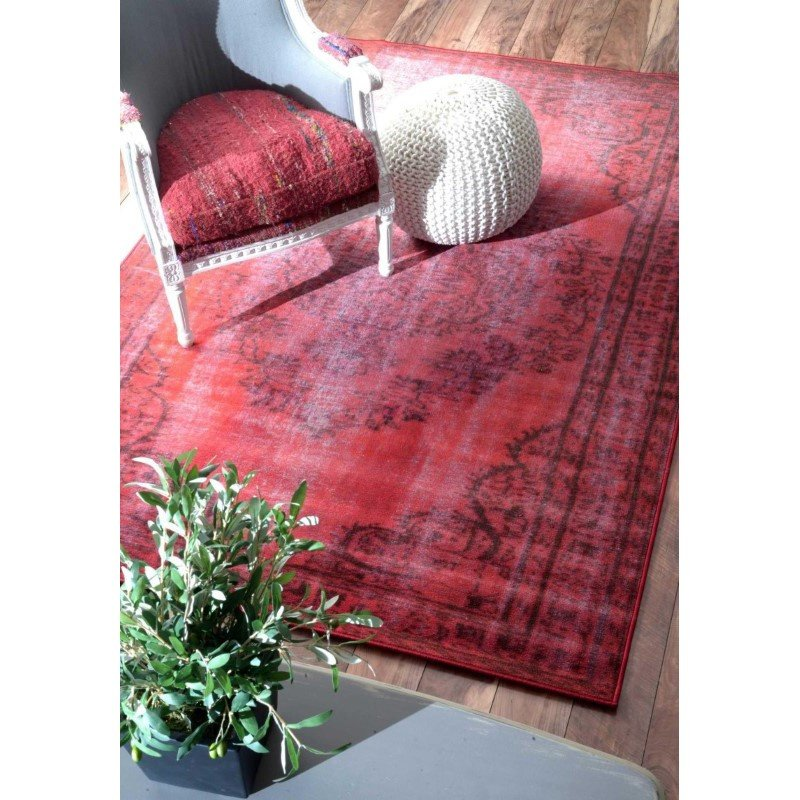 """nuLOOM Machine Made Vintage Inspired Overdyed Rug 8' 2"""" x 9' 11"""" Red Rectangle (DIRE1E-8010)"""