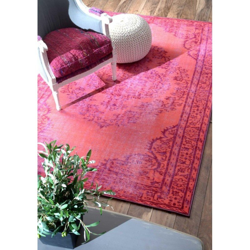 """nuLOOM Machine Made Vintage Inspired Overdyed Rug 9' 2"""" x 12' 5"""" Pink Rectangle (DIRE1C-920125)"""