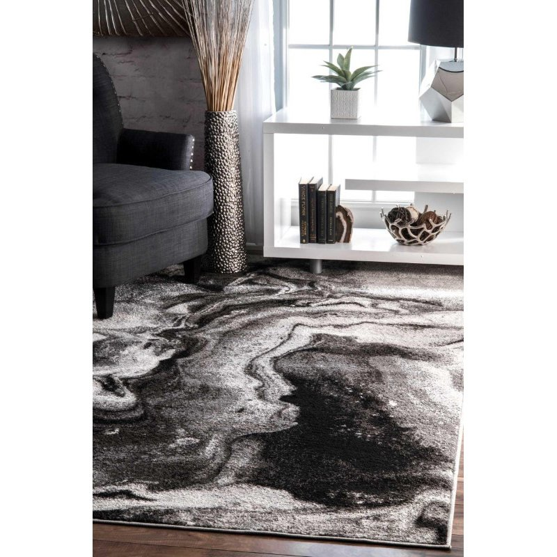 """nuLOOM Remona Abstract Rug 7' 6"""" x 9' 6"""" Grey Rectangle (BDSM11A-76096)"""
