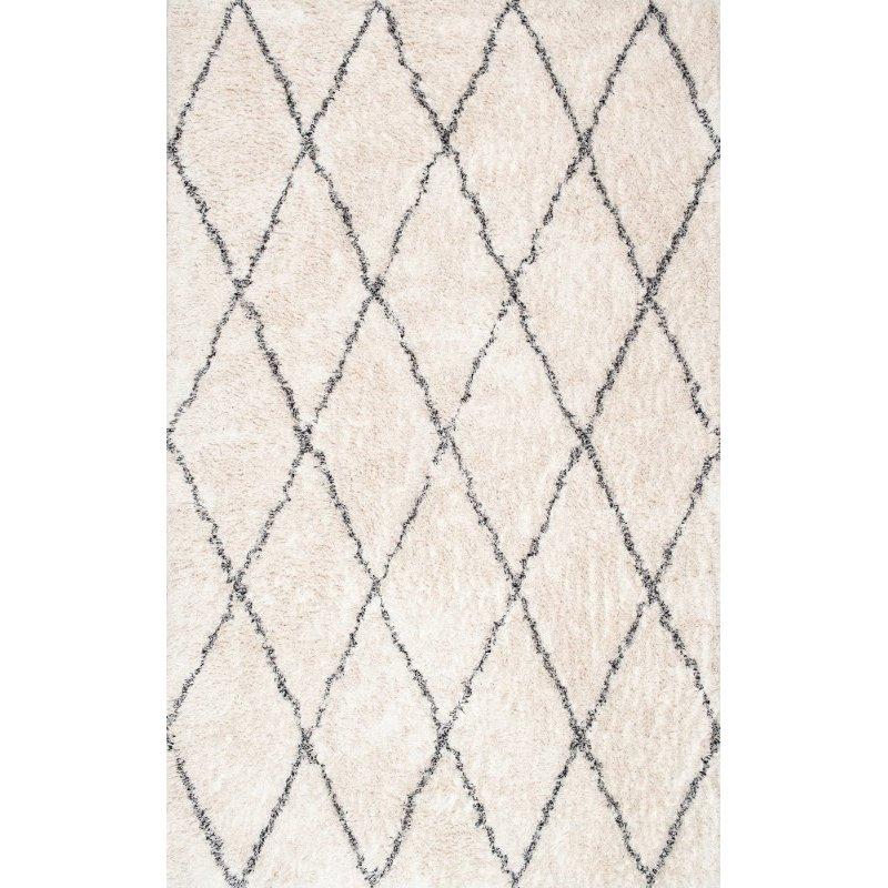 nuLOOM Sheba Cotton Diamond Shaggy 4' x 6' Rectangle Rug in Ivory (RFEK01A-406)