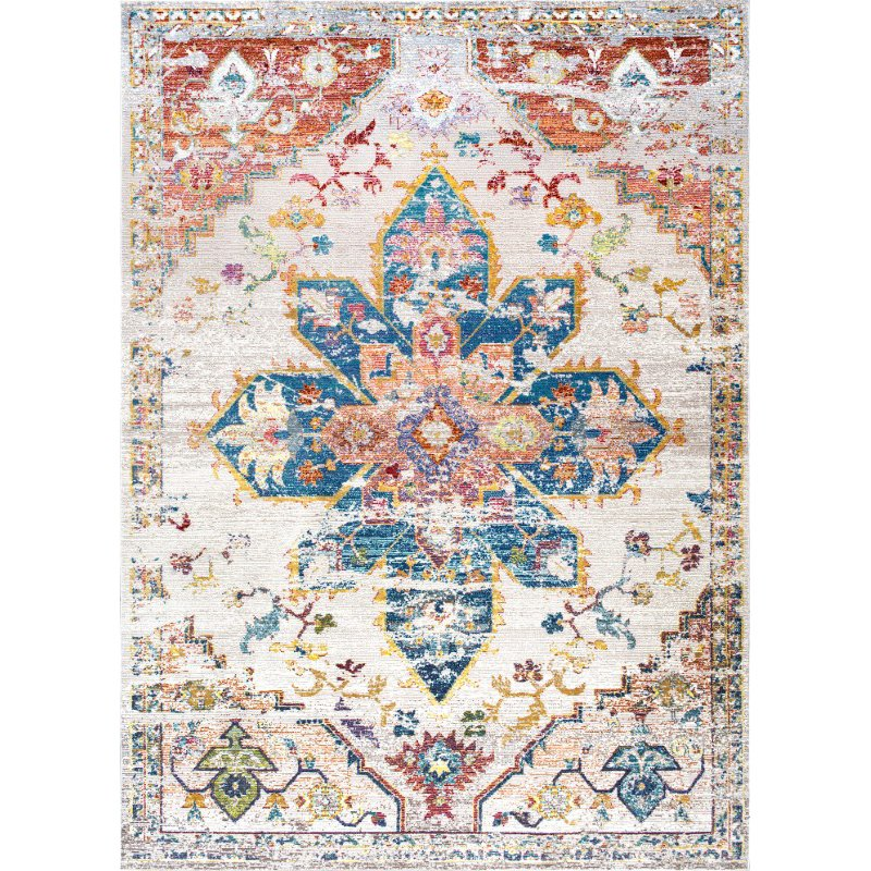 """nuLOOM Terrell Floral Medallion 7' 10"""" x 9' 6"""" Rectangle Rug in Ivory (YKNV07B-710096)"""