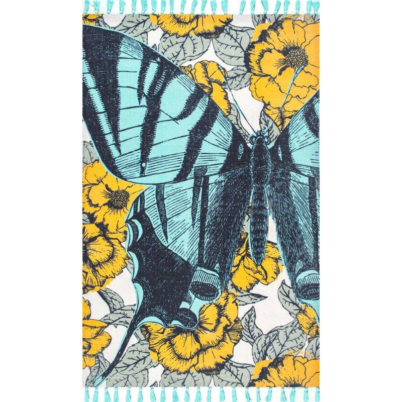 nuLOOM Thomas Paul Flatweave Butterfly Tassel 3' x 5' Rectangle Rug in Green (TATP07A-305)
