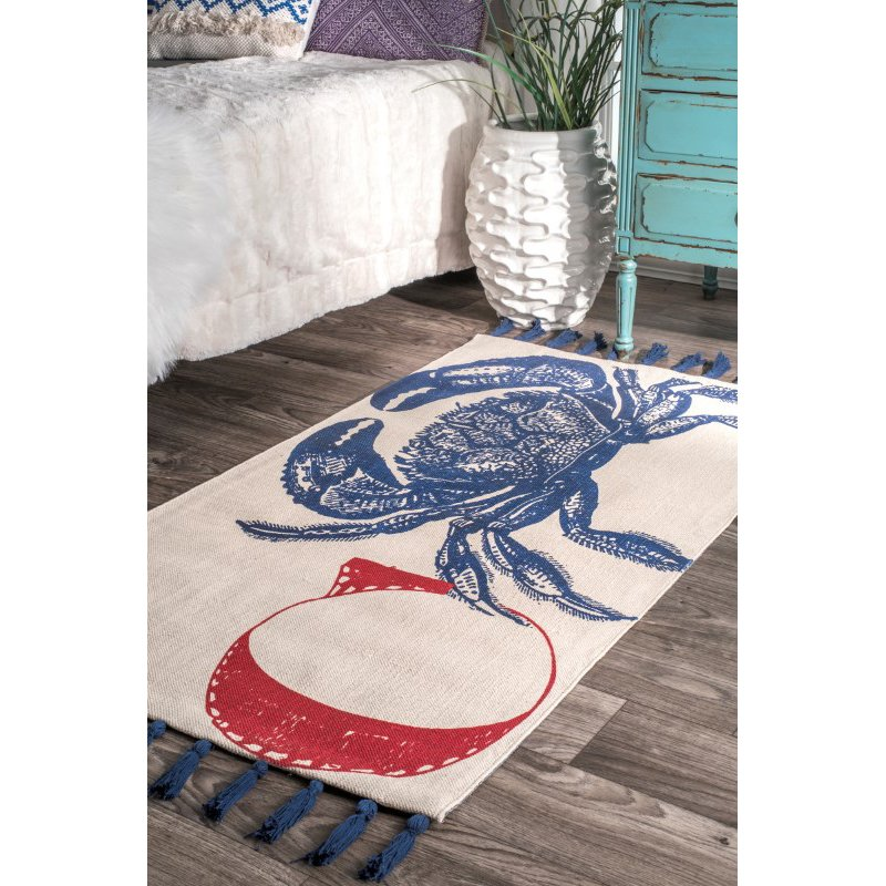 nuLOOM Thomas Paul Flatweave Crab Tassel 4' x 6' Rectangle Rug in Blue (TATP14A-406)