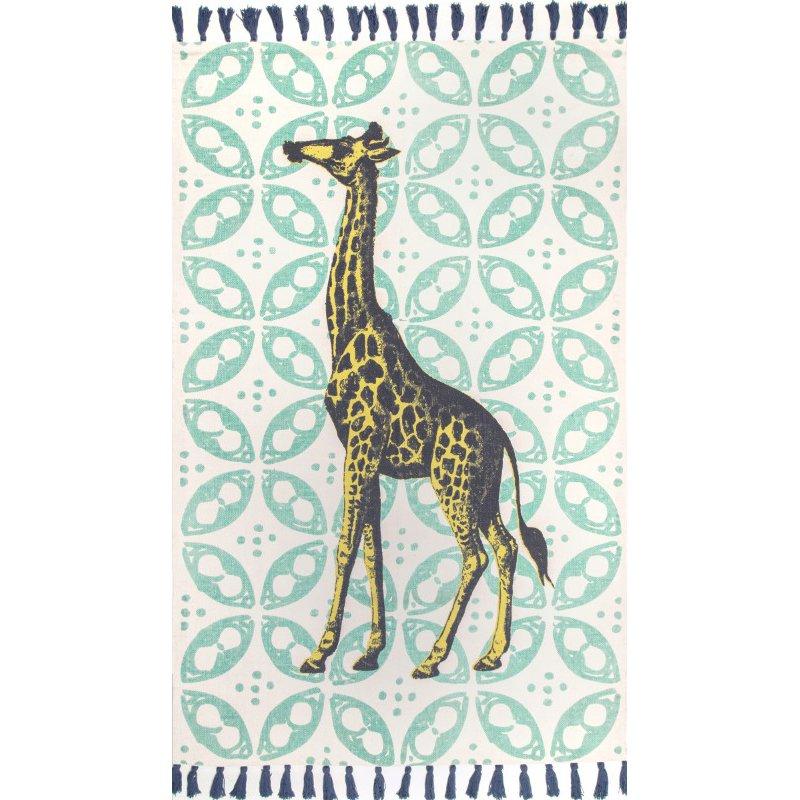 nuLOOM Thomas Paul Flatweave Giraffe Tassel 3' x 5' Rectangle Rug in Green (TATP09A-305)