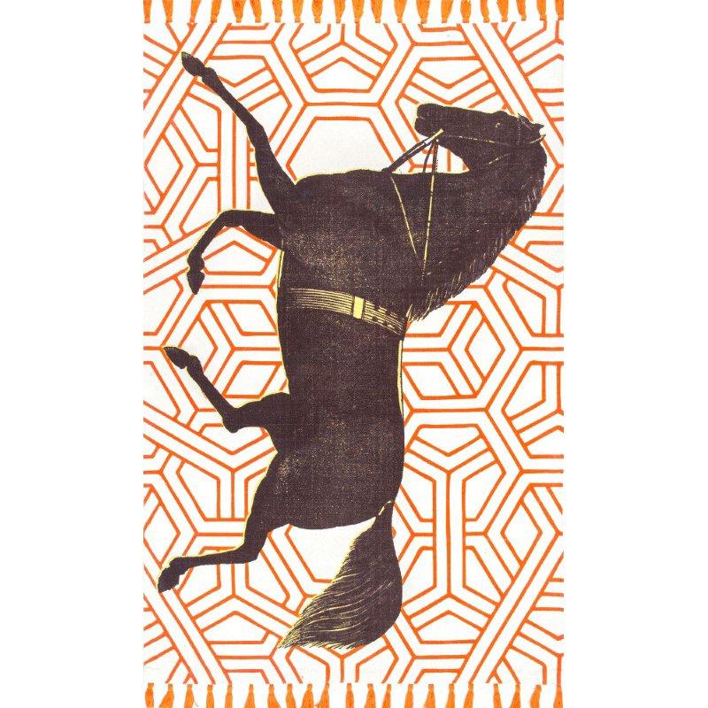 nuLOOM Thomas Paul Flatweave Majestic Mare Tassel 4' x 6' Rectangle Rug in Orange (TATP06B-406)
