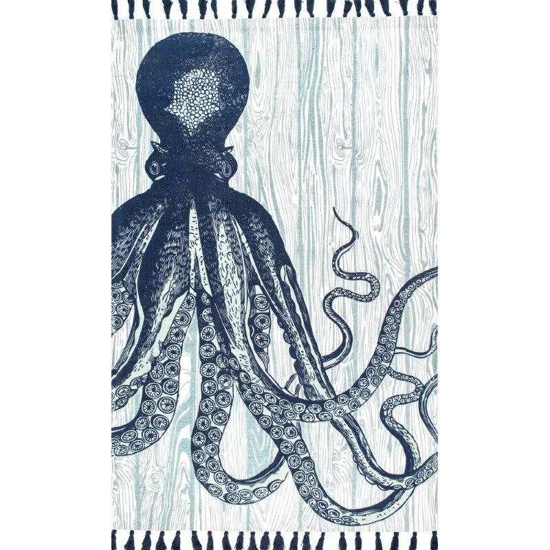 "nuLOOM Thomas Paul Flatweave Octopus Tassel 7' 6"" x 9' 6"" Rectangle Rug in Ivory (TATP05A-76096)"
