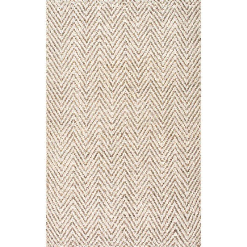nuLOOM Vania Chevron Jute Rug 4' x 6' Bleached Rectangle (CLWA03A-406)