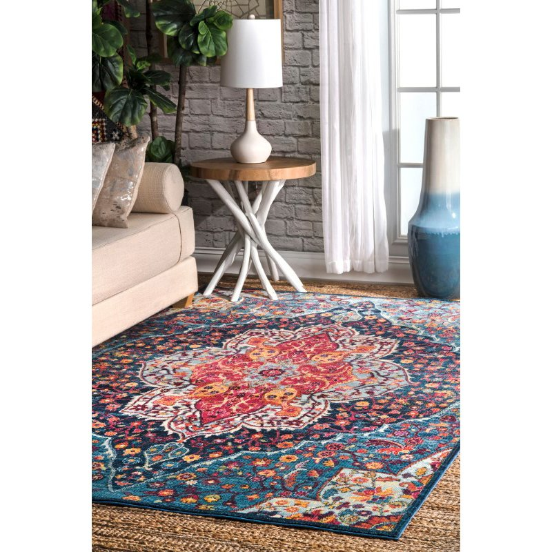 "nuLOOM Vintage Keri 5' 3"" x 7' 7"" Rectangle Rug in Blue (RZDR08B-53077)"