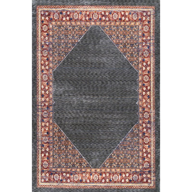 nuLOOM Vintage Purnell Floral 9' x 12' Rectangle Rug in Rust (STCV04B-9012)