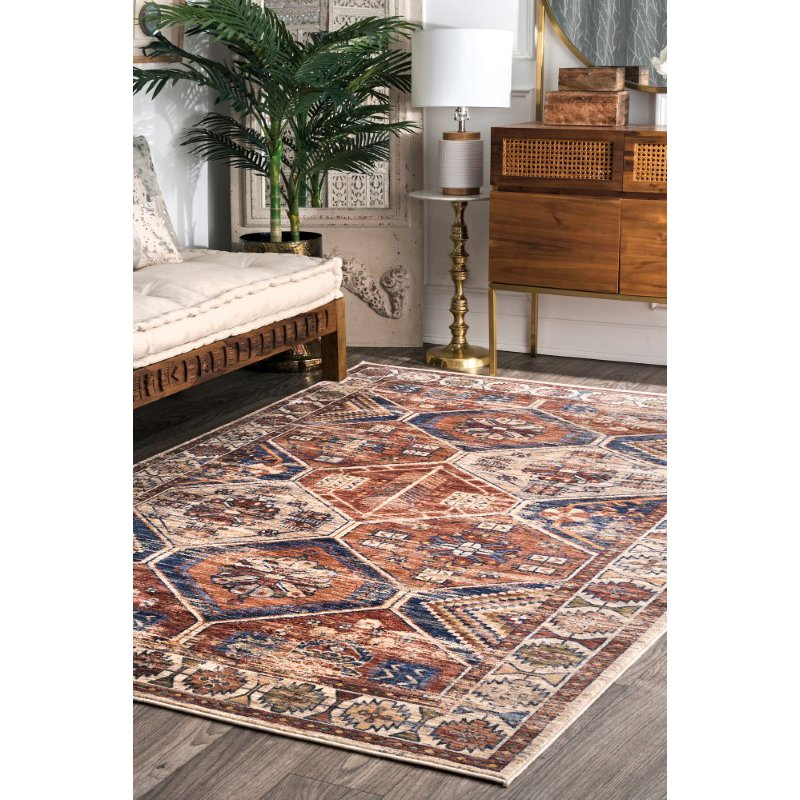 nuLOOM Vintage Sharonda Overdyed 9' x 12' Rectangle Rug in Rust (STCV05A-9012)