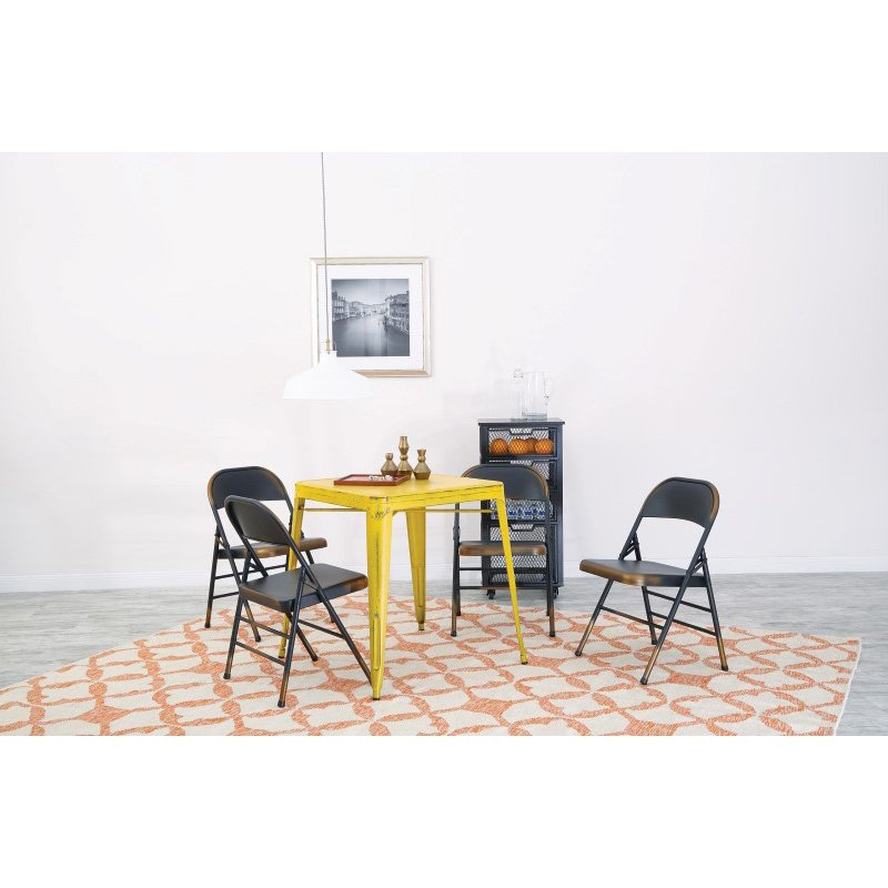 Office Star Products Bristow Antique Metal Table in Antique Yellow with Blue Specks (KD)