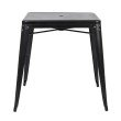 Office Star Products Bristow Metal Dining with Umbrella Hole Center PlacementTable in Matte Black Finish (KD)