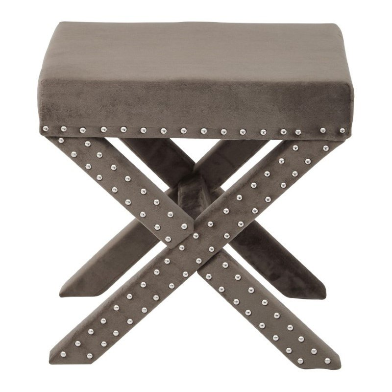 Office Star Products Katie Bench in Otter Micro Velvet with Silver Nail heads