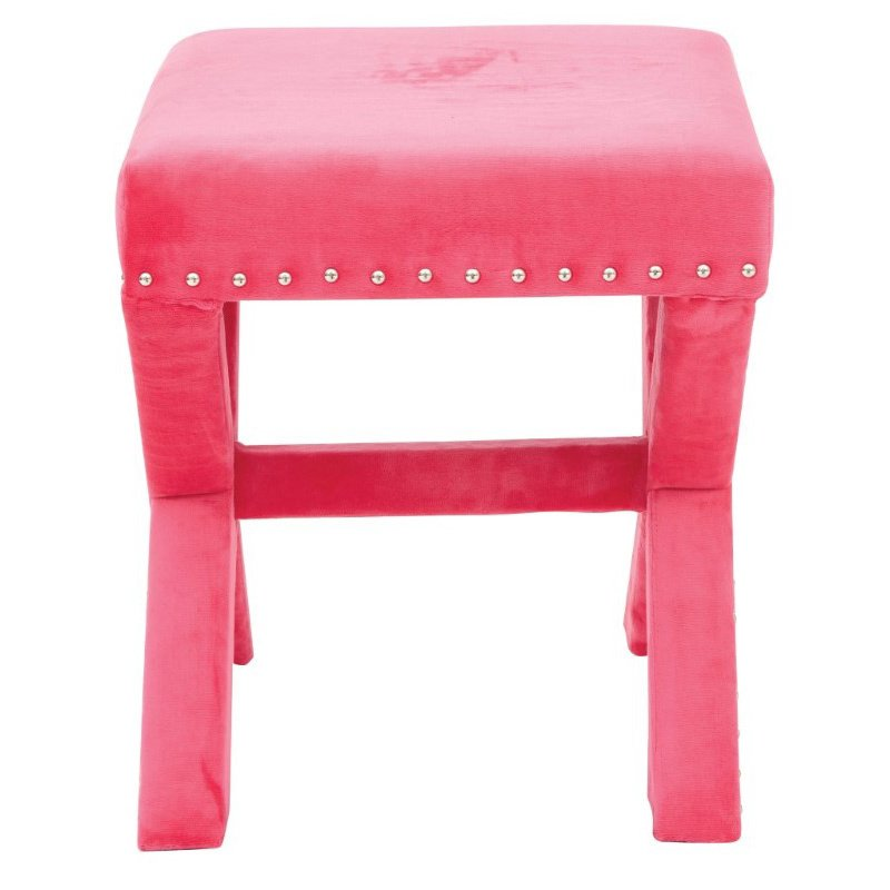 Office Star Products Katie Bench in Pink Micro Velvet with Silver Nail heads