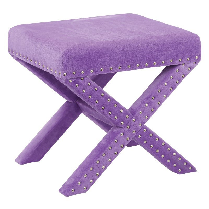 Office Star Products Katie Bench in Purple Micro Velvet with Silver Nail heads