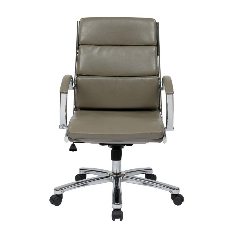 Office Star Products Mid Back Executive Smoke Faux Leather Chair