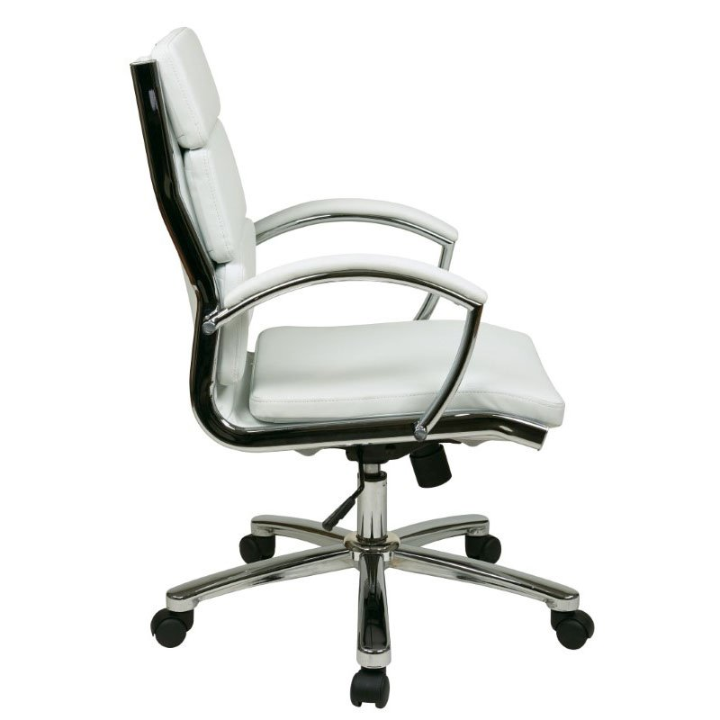 Office Star Products Mid Back Executive White Faux Leather Chair