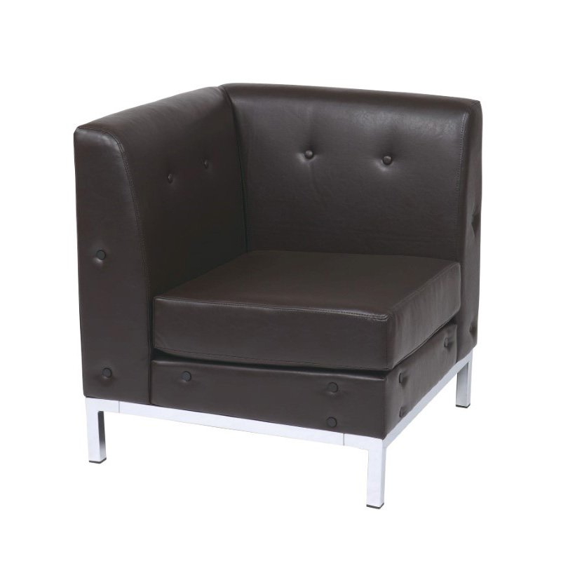 Office Star Products Wall Street Corner Chair in Espresso