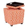 OSP Designs 2-Piece Ottoman Set with tray top in Abby Geo Coral Fabric