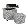 OSP Designs 2-Piece Ottoman Set with tray top in Abby Geo Grey Fabric