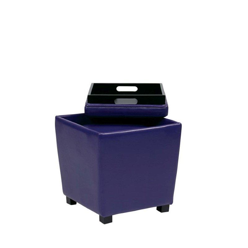 OSP Designs 2-Piece Purple Vinyl Ottoman Set