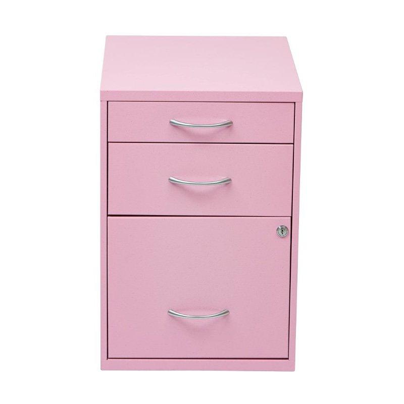 "OSP Designs 22"" Pencil' Box' Storage File Cabinet in Pink Finish"