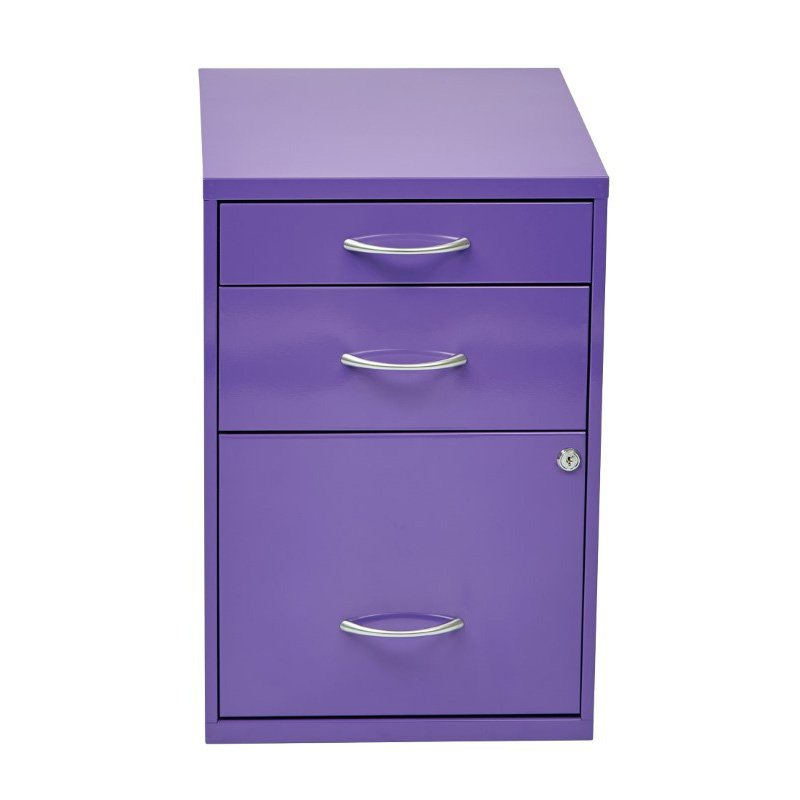 """OSP Designs 22"""" Pencil' Box' Storage File Cabinet in Purple Finish"""