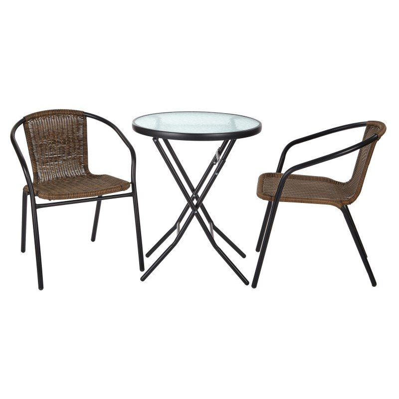 OSP Designs 3pc Outdoor Folding Table and Rattan Chair Set in Black