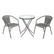 OSP Designs 3pc Outdoor Folding Table and Rattan Chair Set in Grey