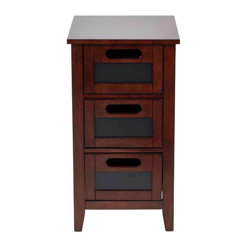 OSP Designs Avery Chalkboard Side Table in Saddle Finish