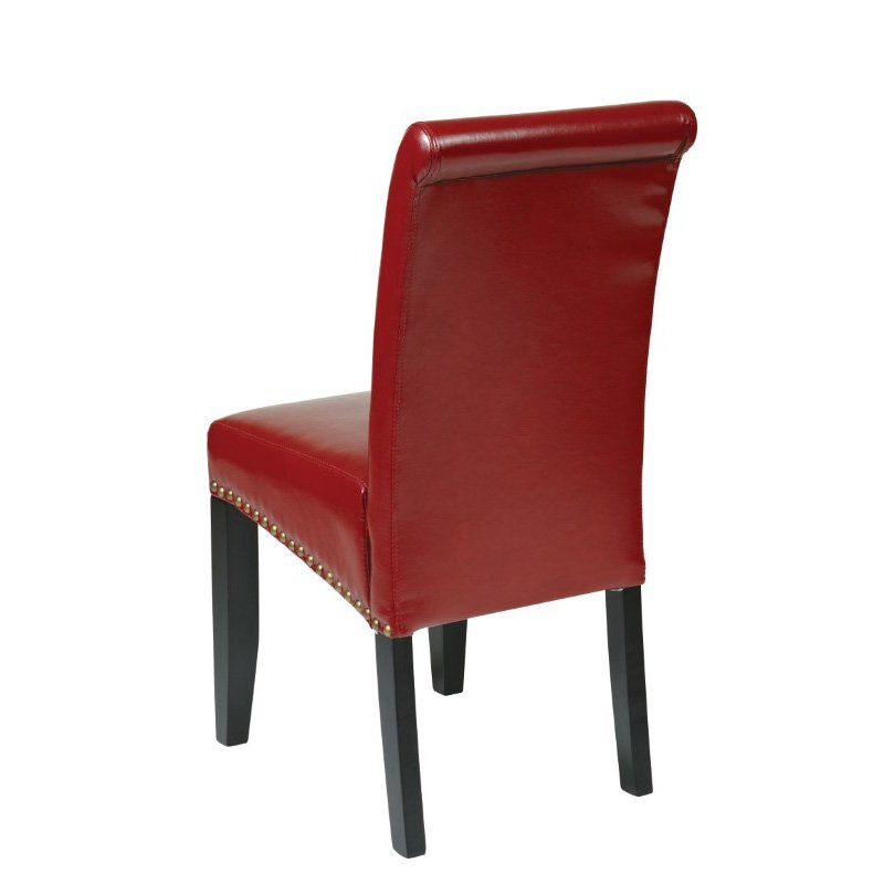OSP Designs Bonded Leather Parsons Chair in Crimson Red