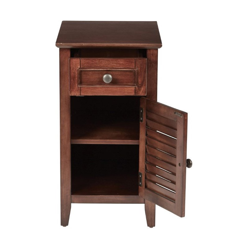 OSP Designs Brooke Chair Side Table in Chestnut Finish