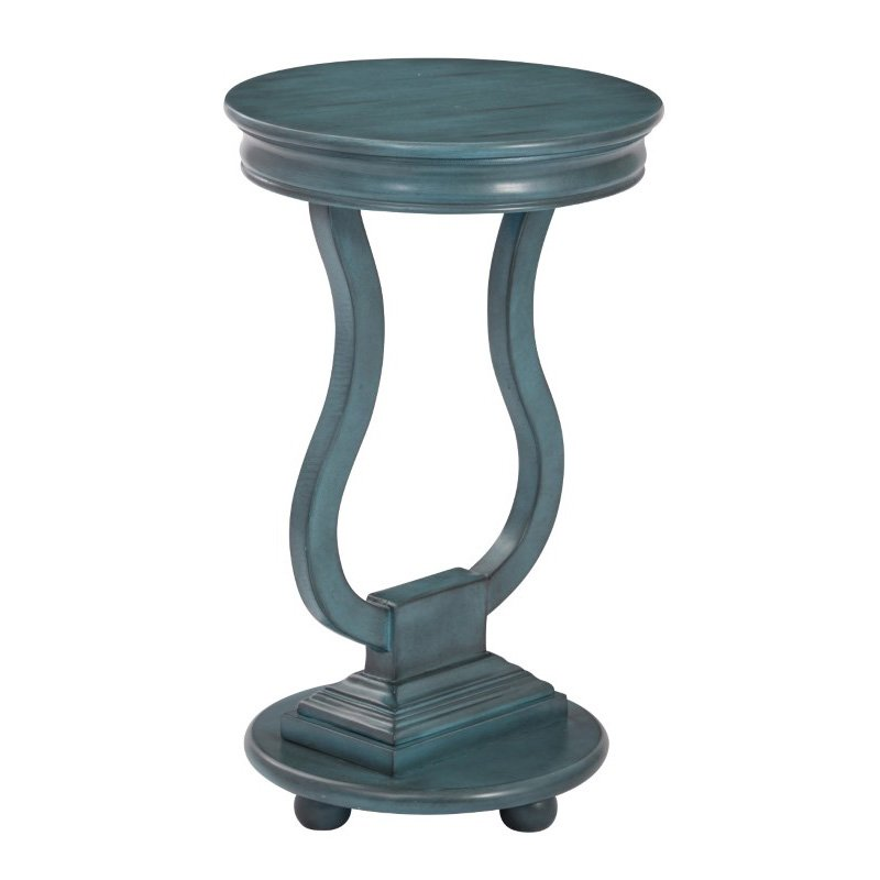 OSP Designs Chase Round Accent Table in Antique Caribbean Blue Finish