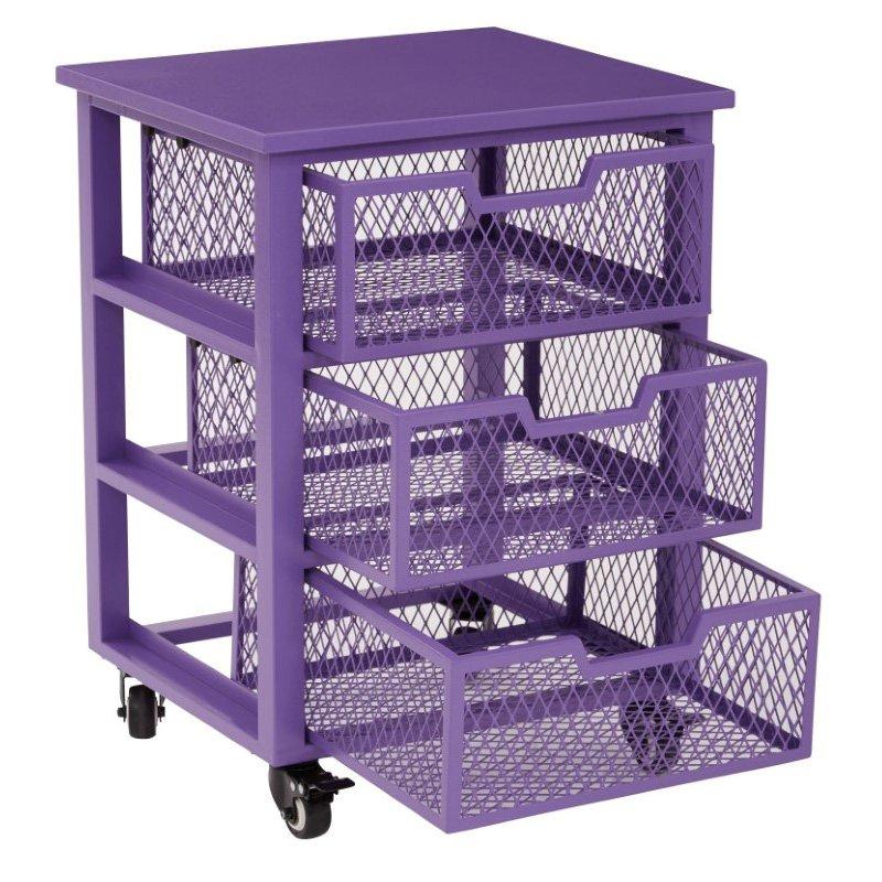 OSP Designs Clayton 3 Drawer Rolling Cart in Purple Metal Finish Frame