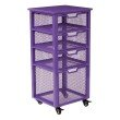 OSP Designs Clayton 4 Drawer Rolling Cart in Purple Metal Finish Frame