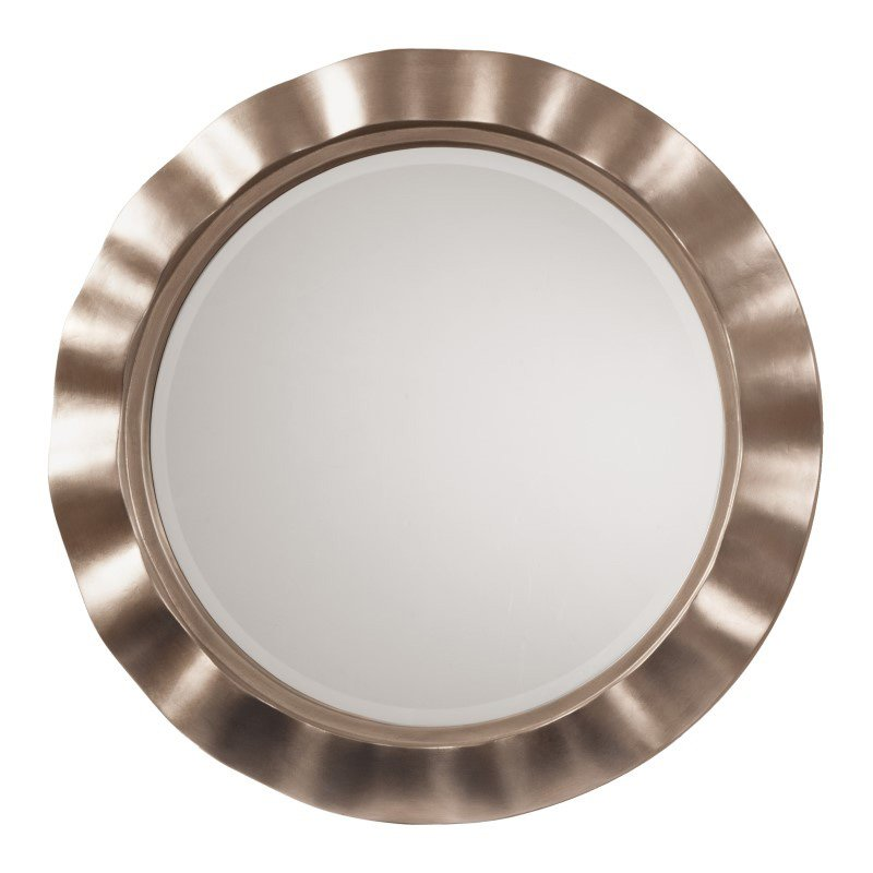 OSP Designs Cosmos Beveled Wall Mirror with Brushed Silver Round Wavy Frame