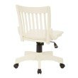 OSP Designs Deluxe Armless Wood Bankers Chair with Wood Seat in Antique White Finish