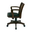 OSP Designs Deluxe Wood Banker's Chair with Vinyl Padded Seat in Espresso Finish