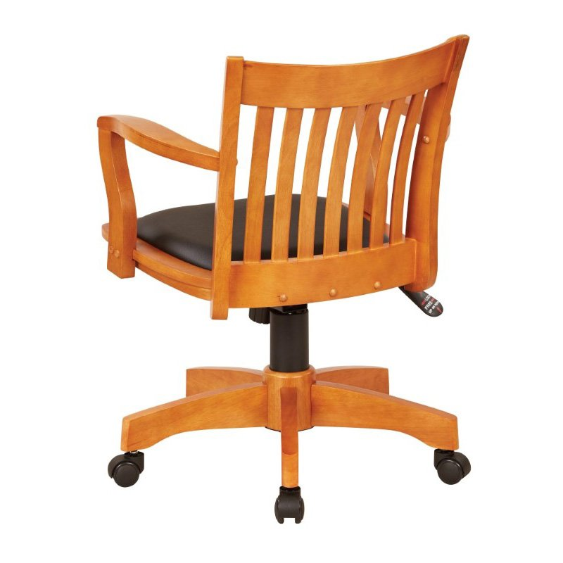 OSP Designs Deluxe Wood Banker's Chair with Vinyl Padded Seat in Fruit Wood Finish with Black Vinyl