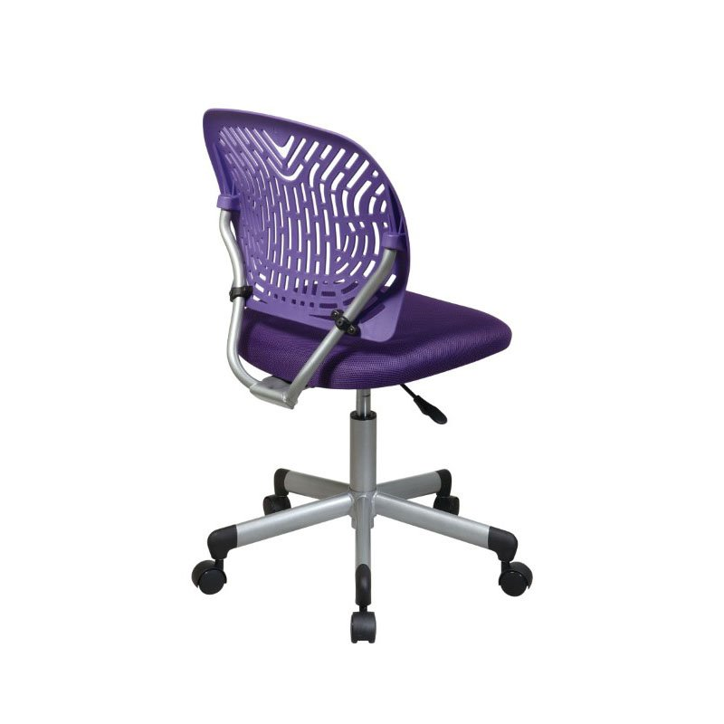 OSP Designs Designer Task Chair in Purple Fabric and Plastic Back