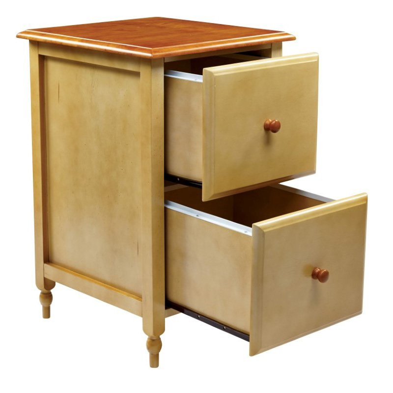 OSP Designs File Cabinet in Country Cottage Buttermilk and Cherry Finish