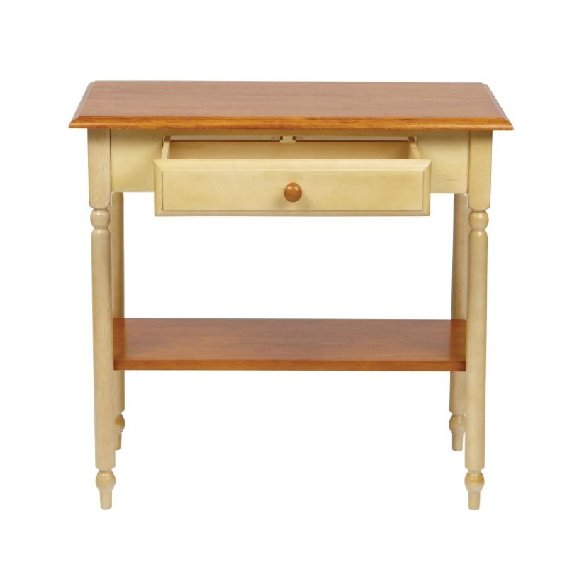 OSP Designs Foyer Table in Country Cottage Buttermilk and Cherry Finish